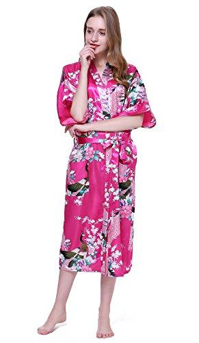 HonourSport Damen Morgenmantel Satin langer Kimono Bademantel Nachtwäsche mit Pfau und Blume Purpurn