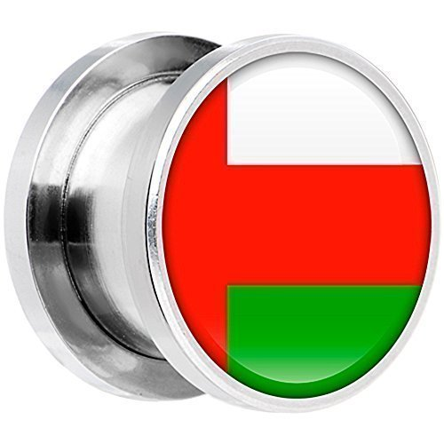 Body Candy Stainless Steel Oman Flag Screw Fit Double Flare Plug