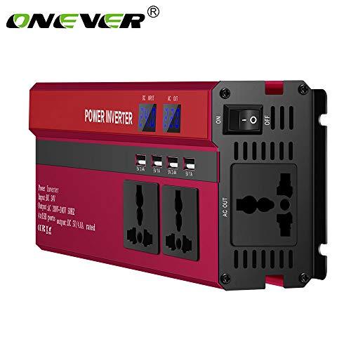 ONEVER 2000W Inversor de Energia Pico 5000W DC 24V a AC 220V Convertidor de Onda Sinusoidal Modificada con 4 Interfaces USB Adaptador de Encendedor de Cigarrillos en el Clip Cocodrilo para Automóvil