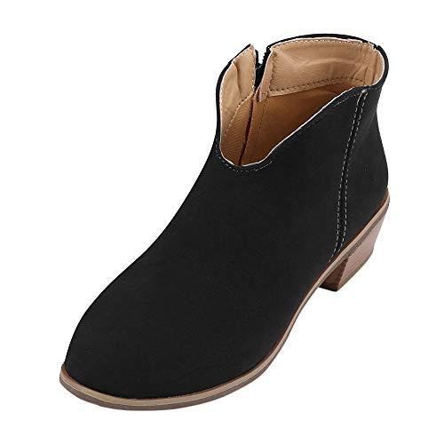 Mymyguoe Damen Retro Kurzschaft Ankle Boots mit Flache Blockabsatz Schuhe Frauen Square Heel...