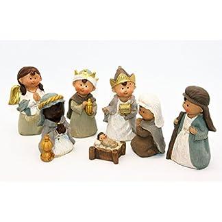 Geschenkestadl Figuras de belén de 7Piezas Pesebre Figuras de niños Cara, hasta 10cm Navidad