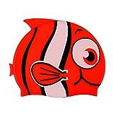 MagiDeal Kinder Badekappe Bademütze - Niedlicher Fisch - Schwimmkappe aus 100% Silikon Schwimmmütze in Verschiedenen Farben - Rot