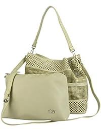 2-in-1 Tasche 30x30x15cm - Handtasche mit Laser-Lochung und zusätzlicher Innentasche mit Reißverschluss (rosa) Collezione Alessandro