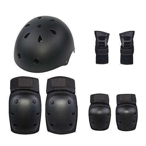 AXIANQI Kinder Erwachsene Roller Balance Auto Outdoor Sport Schutzausrüstung Knieschützer Ellenbogen Wristband Helm 7 Stück Anzug (größe : L)