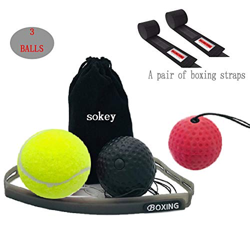 Boxtraining, Boxtraining Ball, Boxen Ball Set mit Handschlaufe, Kampf Dekompression Vent Ball Reflex Training Koordinationsfähigkeit Geschwindigkeit Präzision Dekompression - Kopf Boxen