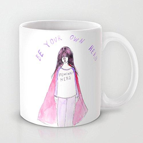 Taza de cerámica con diseño de Héroe Feminista, taza de café o té, taza divertida con mango en forma de C, 325 ml Taza