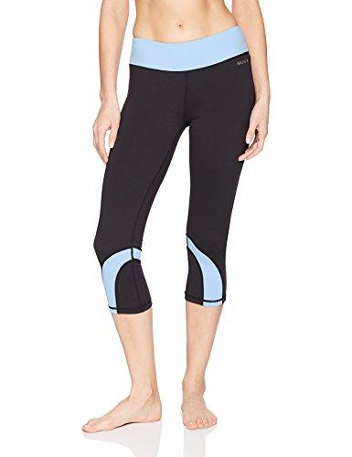 Baleaf Damen Sport 3/4 Hosen Yoga Workout Capri Legging Blau Größe XS (Tanz Capri Strumpfhose)