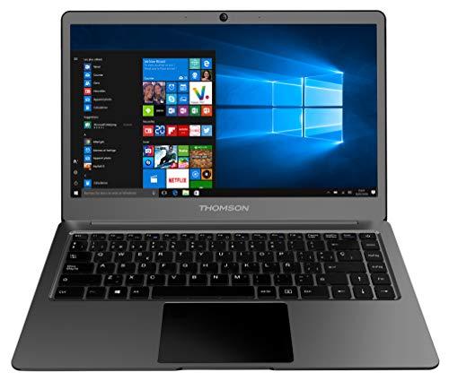 portátil thomson neox de 14,1 pulgadas con intel celeron n3350, 4 gb de ram, 64 gb de almacenamiento y windows 10 - gris oscuro aluminio - teclado español