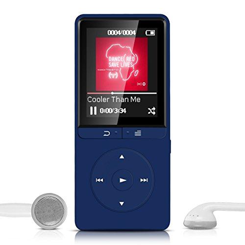 16GB Lossless MP3 Player mit FM Radio und Aufnahmefunktion, 1.8 Zoll TFT Display Sport Musik Player, 70 Stunden Wiedergabe, von AGPTEK A20S, Marineblau