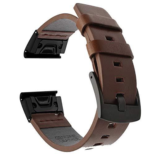 TRUMiRR Fenix 5 Armband, 22mm Quick Release Easy Fit Armband Square Tail Lederarmband Stahl Verschluss Uhrenarmband für Garmin Fenix 5