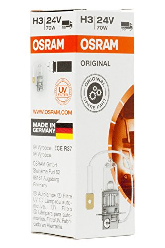 OSRAM ORIGINAL H3, Halogen-Scheinwerferlampe, 64156, 24V LKW, Faltschachtel (1 Stück) (3 Glühlampen Lampenart)