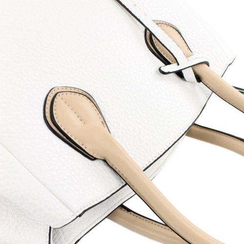Handtasche Damentasche Tragetasche Tasche Kunstledertasche Lederimitat LK9927 White