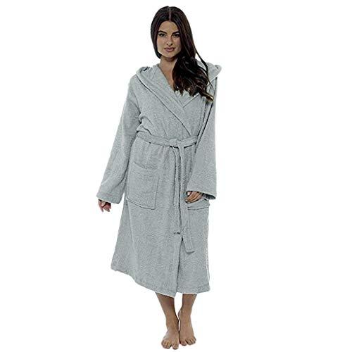 Zegeey Mesdames Automne et Hiver Mode Simple Couleur Unie Grande Taille Robe Longue Yukata Robe de Chambre à Manches Longues Peignoir avec châle de Tailles Pur Coton Chemise de Nuit Classique Femm