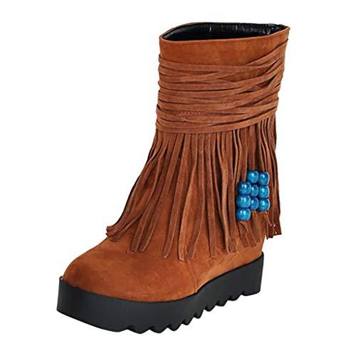 MOTOCO Damen Frauen Stiefel Winter New Mode Schlüpfen Flache Böhmen Runde Stiefeletten Quaste Stiefel(38 EU,Gelb)