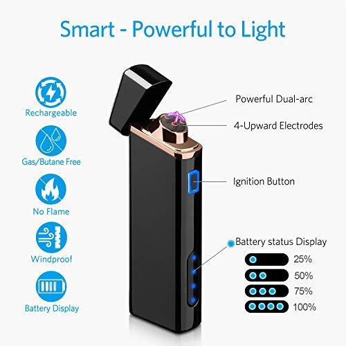 Mechero Electrónico,  Encendedor de Arco Eléctrico Recargable USB Encendedor a Prueba de Viento de Plasma con Indicador de Batería -  para Fuego,  Cigarrillos,  Velas,  Fuegos Artificiales,  Camping