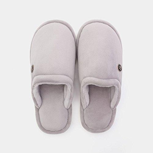DogHaccd pantofole,Home paio di pantofole di cotone femmina spessa invernale Caldo sweet home interno gancio,La nuda rosaLa nuda rosa Grigio scuro4