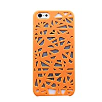 1pcs Birds Nest Woven Rubberized Hard Thin Case Cover for iPhone 5 5G 5S Color=Orange
