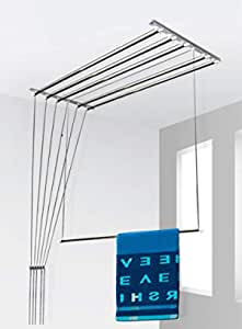 SYNERGY - (6 Pipes x 5 Feet) - Heavy Duty - Stainless Steel Ceiling Clothes Hanger/Cloth Dryer with UV Protected Nylon Rope and Individual Drop Down Railers (SY-CL2)