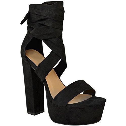 Fashion thirsty heelberry donna pizzo alto tacco largo plateau sandali donna laccetti scarpe da festa - nera pelle scamosciata, 38
