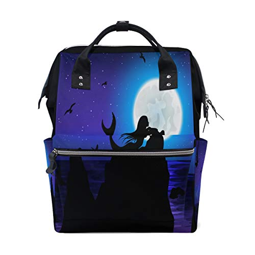 Vinlin Fantasie Mond Meerjungfrau Grosse Kapazität Windel Tote Tasche Rucksack für Mama Papa Unisex -