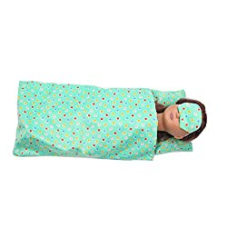 YUYOUG 3 Packs Lovely Bedding Set Sleeping Comforter + Pillow+ Eyeshade Accessories Set For 18 Inch American Girl Doll Accessories Girl Gift Toy (Green)
