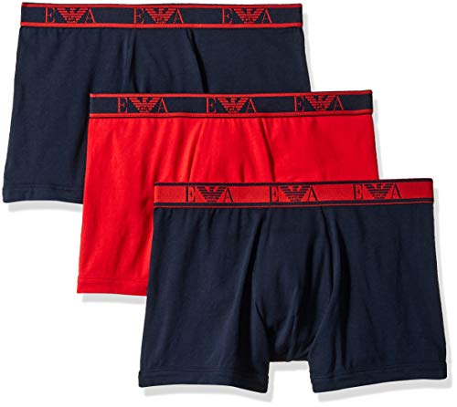 Armani Boxer Briefs (Emporio Armani Herren Monogram 3-Pack Boxer Brief Slip, Red/Marine, Medium)