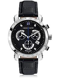 Chrono Diamond 82128_schwarz-41 mm - Reloj para hombres, correa de cuero color negro