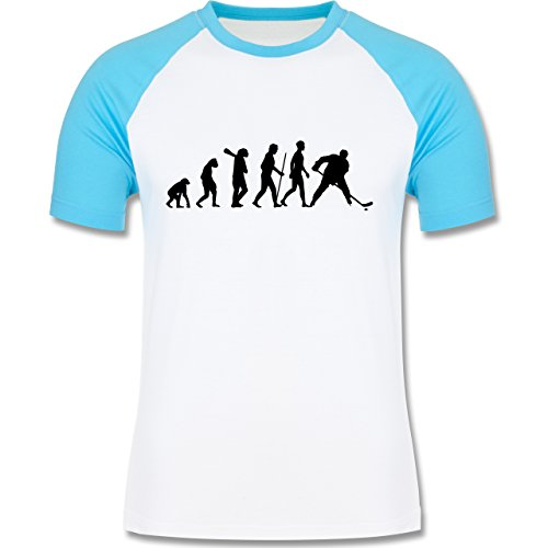 Shirtracer Evolution - Eishockey Evolution - Herren Baseball Shirt Weiß/Türkis