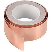 Cinta adhesiva de cobre Cymax con doble cara conductiva-emisión,blindaje, vidrio tintado, soldadura, reparaciones eléctricas, repelente de golpes, circuitos de papel, tierra. 25 m x 50 mm