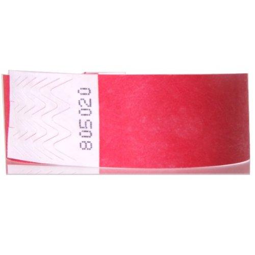 JR Wristbands Tyvek Lot de 250 bracelets 19mm x 254mm rouge