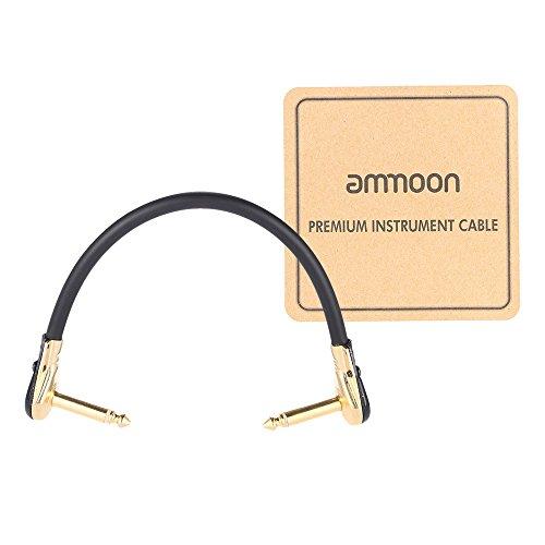 ammoon AC 20 15 cm / 0,5 Feet Hightqualität Gitarre Patch-Kabel-Schnur mit 1/4 Zoll 6,35 mm Goldene Rechtwinklig Stecker PVC für Effekt Pedal Instrument (0.5' Kabel)