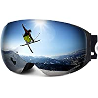 LEMEGO Gafas de Esquí, Gafas de Snowboard Sin Marco magnético Intercambiable 100% UV400 Protección Doble Capa Lente Correa Antideslizante Casco Compatible para Hombres y Mujeres Jóvenes (Plata)