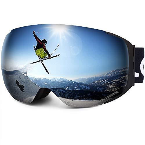 LEMEGO Masque de Ski Mangétique Anti-Buée Protection UV400, Lunettes de Ski Snowboard Double Ecran Sphérique avec Sangle Détachable Compatible Casque pour Homme Femme Adulte - VLT 14,2%