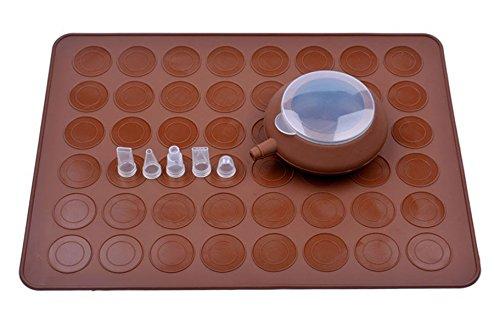 Carreguard 38x28cm Silikon-Backmatte 48 Mulden,Sahnespritze Sahnespritze,4 kleinen Garniertüllen für Kuchen Waffel Macaron