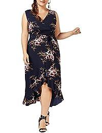 8cc25ab09148c7 ishine Übergröße Kleid Damen V-Ausschnitt Ärmellos Sommerkleid Maxikleid  A-Linie Partykleid Festliches Kleid…