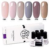 Sexymix UV Nagellack, Nude Farbe Gel Lack Sets für Nail Art Design mit Geschenk verpackt, 6 Stück 7ml Maniküre Kit