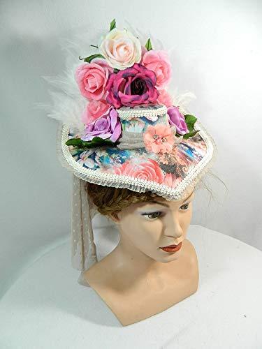 Damenhut Schute bunt Blumen Viktorianisch Gothic Marie Antoinette Fascinator Kopfschmuck