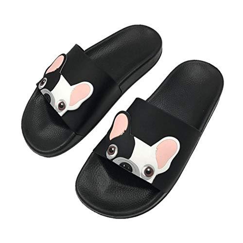 WDDNTX Hausschuhe, Mode Frauen Niedlichen Cartoon Hund Rutsche Strand Hausschuhe Flache Schuhe Verhindern Rutschigen Slipper Lässige Hausschuhe Schuhe Frau, 38 - Frauen Hausschuhe Hund Für