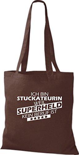 Shirtstown Stoffbeutel Ich bin Stuckateurin, weil Superheld kein Beruf ist braun