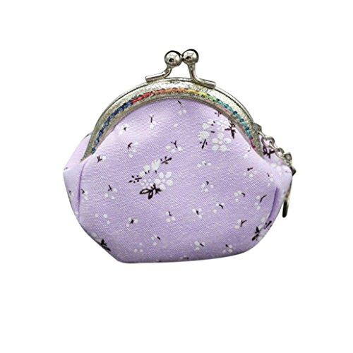 Frauen Mädchen Mode Snacks Geldbörse VENMO Wallet Bag Change Tasche Schlüsselhalter Geldbörse mit Ethno Blumen und Blüten Muster, Vintage Design, Reißverschluss, Portemonnaie Hellblau / Pink / Lila / Beige (Purple) -