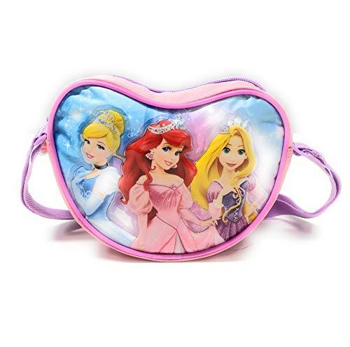 Disney Princess Herztasche für Kleine Mädchen - Kinder Handtasche Prinzessinnen in Form eines Herzens - Rosa Umhängetasche mit Ariele Aschenputtel Rapunzel - 18x14x6 cm - Perletti