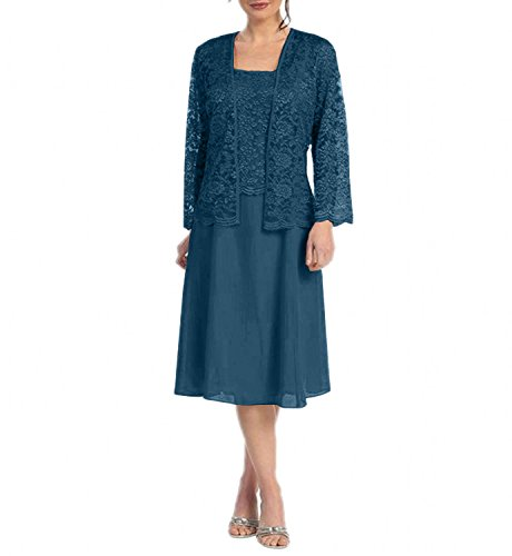 Charmant Damen Kurz Spitze Chiffon Brautmutterkleider Abendkleider Promkleider A-linie Rock Festlichkleider Navy Blau