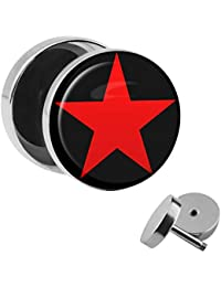 Stern Fake PLUG Stab mit Kugeln Weiß mit Schwarzem Stern Ohr Piercing