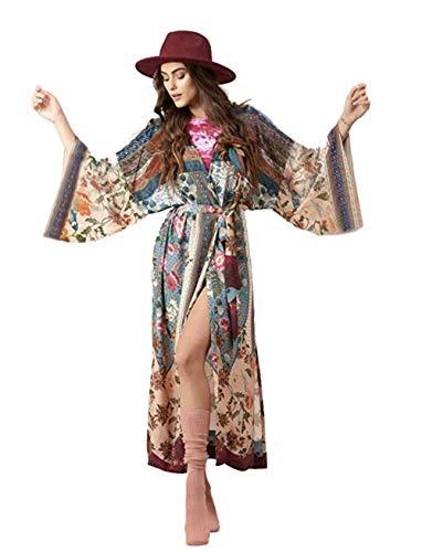 BUTTZO Damen Sommer Bluse Überzug locker Kimono Floral Print Cardigan Chiffon Beachwear Kleid - Mehrfarbig - Einheitsgröße Floral Print Chiffon Kleid