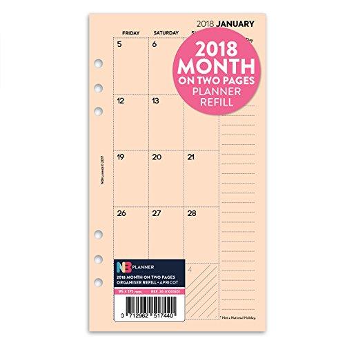 2018-mois-sur-deux-pages-planner-recharge-insert-english-filofax-personal-compatible-abricot