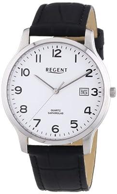 Regent - Reloj Analógico de Cuarzo para Hombre, correa de Cuero color Negro de Regent