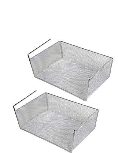 LaCyan Unterregalkörbe Edelstahl Feinmaschig Aufbewahrungsbox für Kleiderschrank Schränke Küche L-2pcs