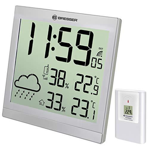 BRESSER TemeoTrend JC - Reloj de Pared y estación meteorológica 22 x 22 cm, Plata
