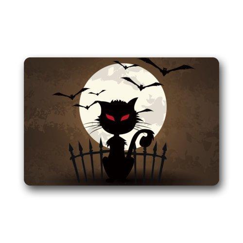 OKME Custom Halloween Doormats/Decorations/Bat Moon Scary Cat Durable Machine-Washable Indoor/Outdoor Door Mat 15.7