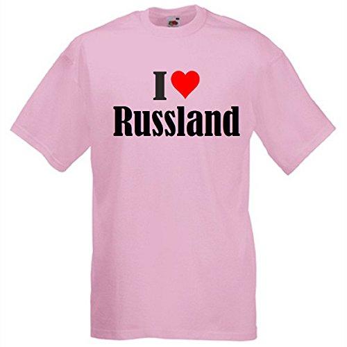 """T-Shirt """"I Love Russland"""" für Damen Herren und Kinder in Pink Pink"""